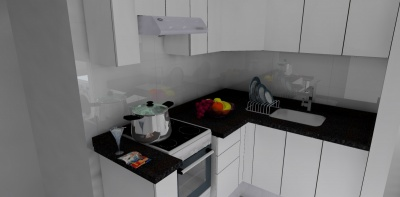 Cocina Integral Melamina Blanca > Cubierta de Granito Negro