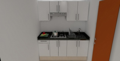 Cocina Integral Melamina Blanca > Cubierta de Granito Negra