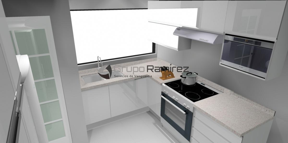 Render de cocina integral con cubierta de granito